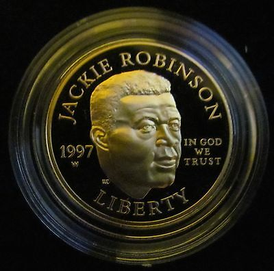 1997 W Proof US Gold Jackie Robinson Coin and Legacy Commemorative Set with COA!