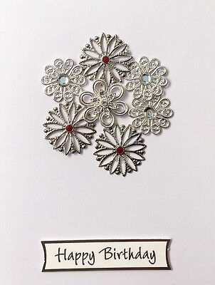 Happy Birthday Card - Silver Flowers, Hand Made, Unique, Special, Gift Card