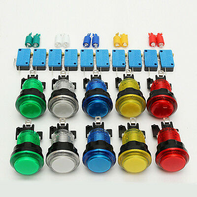 10 Pcs Lot LED Illuminated Full Colors Switch buttons For Arcade Parts DIY