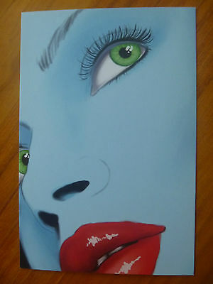 Postcard....blu Girl...sexy Red Lips...green Eyes...blue...red Lipstick..kisses
