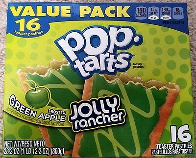 NEW Pop Tarts Toaster Pastries Jolly Rancher Frosted Green Apple 16 Count