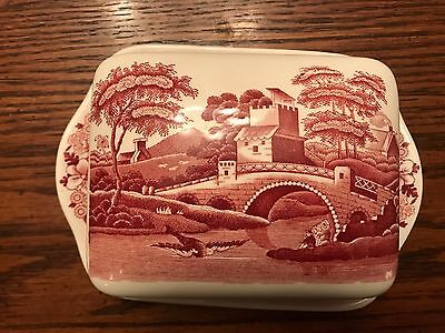 Copeland Spode's Tower Pink Red Vintage Porcelain butter dish