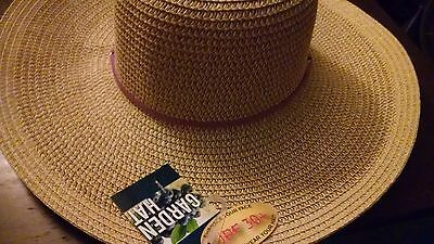 Midwest Ladies UPF 30+ Outdoor Straw Hat Purple Hand Band & Draw String New  Tag