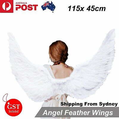115cm X 45cm Feather Wings White Angel Fairy Adults Costume Outfit Party Cosplay