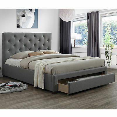 Modern Queen Size Fabric Bed Frame with 1 Drawer - Grey