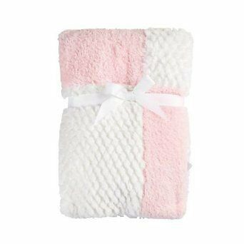 NEW NWOT Kyle & Deena Pink And White Patchwork Baby Girl Plush Minky Blanket