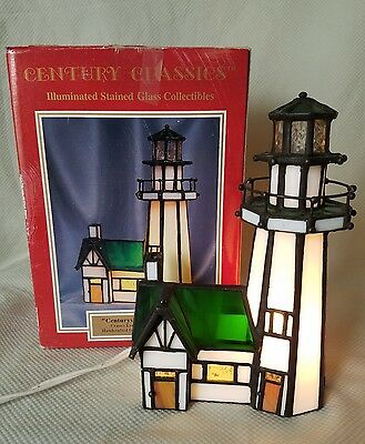 Century Classics CenturyVille Collection Lighthouse Illuminated Stain Glass