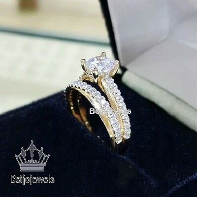 Diamond Bridal Set Engagement Ring Ladies & Mens Wedding Band 10k Yellow Gold