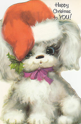 Vintage Retro Kitsch 1970's Merry Christmas Poodle Greeting Card & Envelope