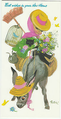 Vintage 1970's Best Wishes In Your New Home Greeting Card by Royle ~ Donkey Remi