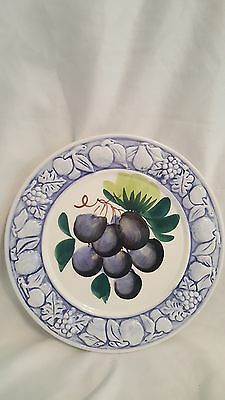 """VTG FRUIT GRAPES PLATE EMBOSSED BLUE RIM MADE IN ITALY 8 3/16"""" hand painted"""