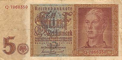Germany  5  Reichsmark 1.8.1942 Swastika Series Q Circulated Banknote E422EL