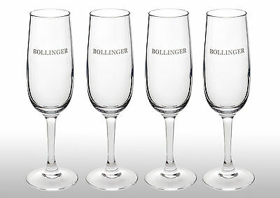 Bollinger Champagne Glass Flutes X 4 New Style