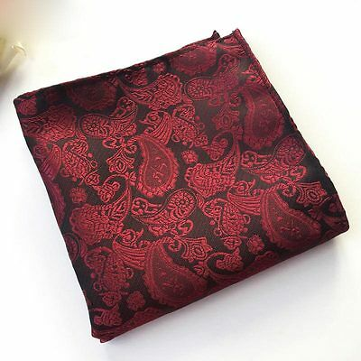 Classic Mens Silk Handkerchief Black Red Paisley Floral Pocket Square Hanky F127
