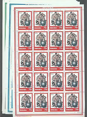 Rwanda 1981 Norman Rockwell paintings set of 8 in complete sheets of 20. MNH