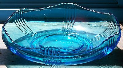 Blue Glass 1950's Float Bowl - 28.5 cm diameter