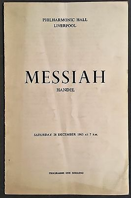 """1963 """"Messiah"""" Liverpool Philharmonic Orchestra Concert Programme"""