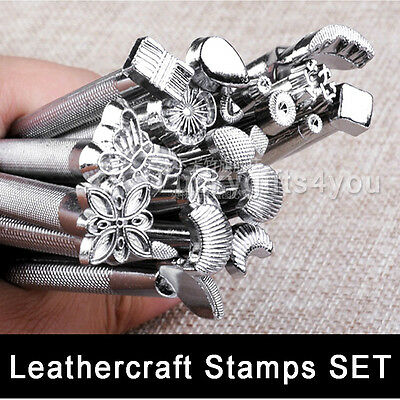 20pcs Leather Working Saddle Making Carving Leather Craft Stamps Tools Kit Set