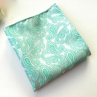 Classic Mens Silk Handkerchief Mint Green Paisley Floral Pocket Square Hanky 130