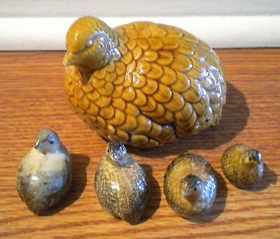 Mixed Lot of 5 Vintage Brown Ceramic Quail Bird Figurines