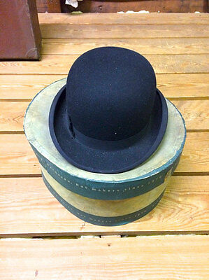 Vintage MacQueen London Dun & Co Bowler Hat with Original Box and a brush