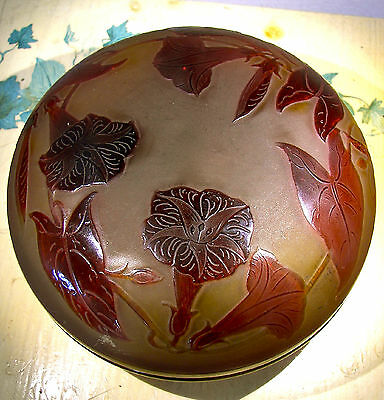 C. 1920 AMAZING D'ARGENTAL CAMEO GLASS BOX, galle period