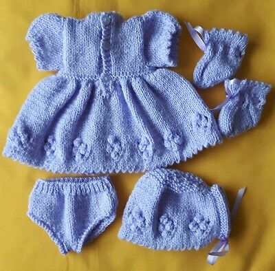 """Dolls Clothes New Hand Knitted 16"""" Lavender Dress,Hat,Knickers & Booties"""
