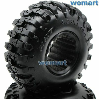 2pc RC 1.9 Rock Crawler Tires 108mm For 1:10 RC 4WD Axial 1.9 Beadlock alloy Rim