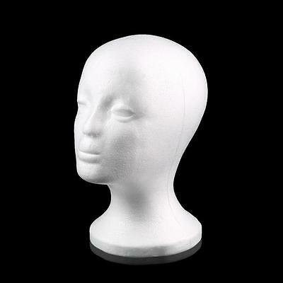 Female Styrofoam Mannequin Manikin Head Model Foam Wig Hair Glasses Display AB