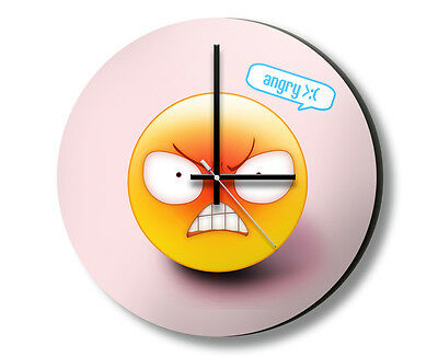Angry Emoticon Hanging Wall Clock with Non-Tick Silent Sweep Quartz Large 32cm