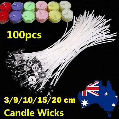 100pcs Candle Wick Pre Waxed Cotton Core with Sustainers Wax Candle Making