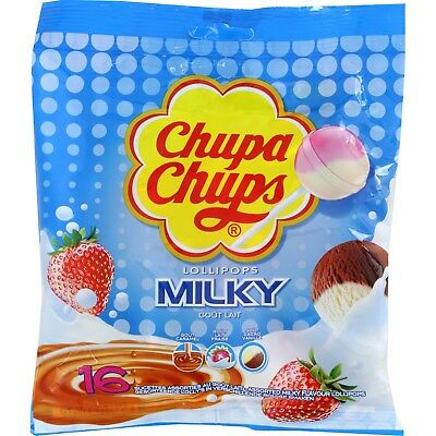 Chupa Chups Milky Flavours Bag 16 Assorted Flavour Lollipops