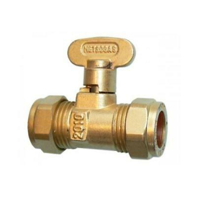 Rigid Fan Gas Cock Brass Isolation Valve 8 mm & 15 mm Compression Metrogas