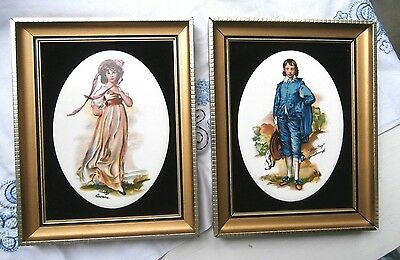 Magnificent Staffordshire Harleigh Tiles Pinky and Blue Boy Framed 1971 England