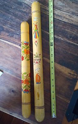 Vintage wooden knitting needle cases cylinder tubes painted Holland 16 & 20""