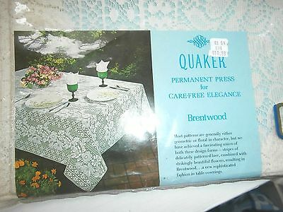 Lace Tablecloth 54 x 70 American Quaker Lace NEW vintage Brentwood 1088 Natural