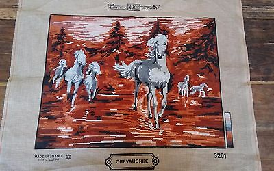 Vtg Margot Paris France Chevauchee wild horses needlepoint completed 18x14