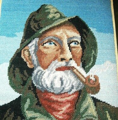 Vintage completed Babs Fuhrman petit point Old Salt Fisherman Sea Captain 6x7.5
