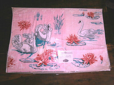 Mid Century Royal Terry of California pink swan towel set bath guest wash NEW