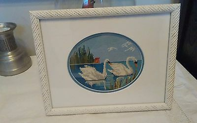 Vtg beautiful Jean Mcintosh framed Two Swans M-178 petit point 10x8