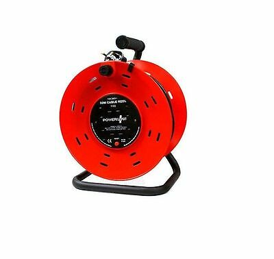 New 50M 4 Way Heavy Duty Cable 50 Meter Extension Reel Lead 4 Socket 13 A  240V