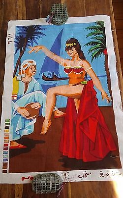 Vtg needlepoint canvas middle eastern belly dancer no yarn incl. 30x20""