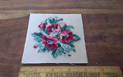 Vtg jean McIntosh? Completed miniature petit point floral red poppies? 4x4