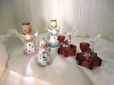 Lot of 5 christmas angels candleholder bell shafford ruby glass 2-3.5 inch japan