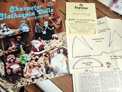 Vtg Character Clothespin Dolls w Furniture Judy Lewis Shirley Burgess Jillypeg