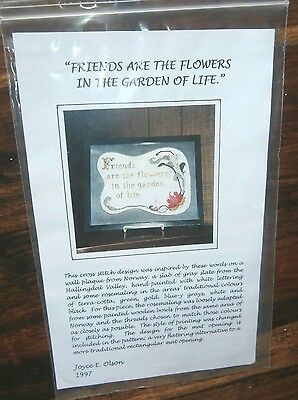 Vtg Cross Stitch Chart Friends are the Flowers Garden of Life Rosemaling design