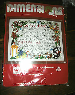 Vtg Dimensions 8004 Embroidery Crewel kit Christmas is Goodwill Steinmeyer 16x12