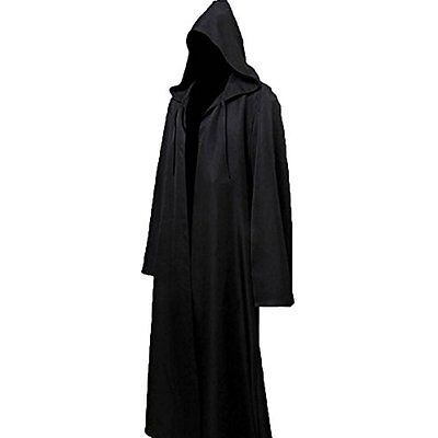 Mens Halloween Witch Cosplay Robe Costume Adult Hooded Cloak Cape,Black,Large