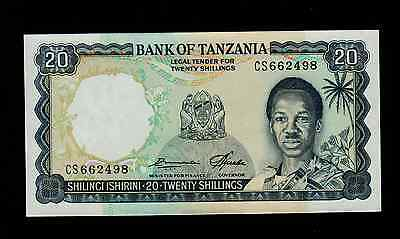 TANZANIA  20  SHILLINGS 1966 CS  PICK # 3e AU-UNC.