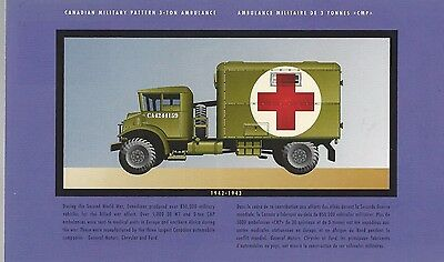 1943 War Canadian Military Ambulance 3 Tons On Canadian Postcard With Stamp